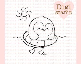 Penguin Floatie Digital Stamp for Card Making, Paper Crafts, Scrapbooking, Hand Embroidery, Invitations, Stickers, Cookie Decorating