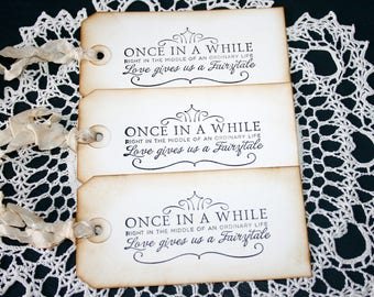 Once in a While Gift Tags // Wedding gift tag // Large Shabby Chic Tags // Cottage Style Gift Tags // Set of 3 Gift Tags //  Vintage style