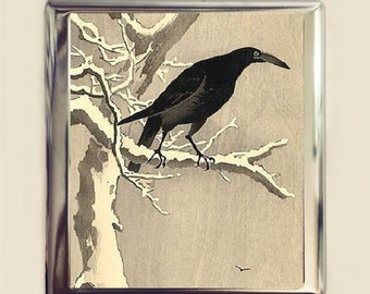 Crow Woodblock Cigarette Case Business Card ID Holder Wallet Japanese Japan Asian Art Painting