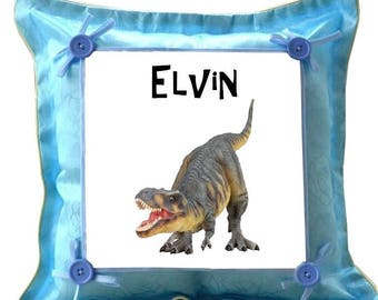 Cushion blue dinosaur personalized with name