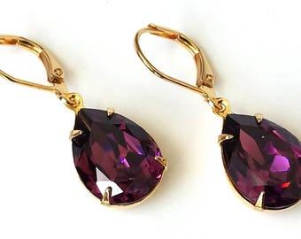 Amethyst Crystal Rhinestone Earrings Swarovski Purple Teardrop Earrings Amethyst Earrings Purple Crystal Earrings Purple and Gold Earrings