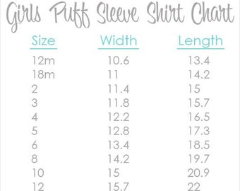 """Girl's Puff Sleeve Size Chart - Visual Information Only  **PLEASE DON""""T PURCHASE**"""