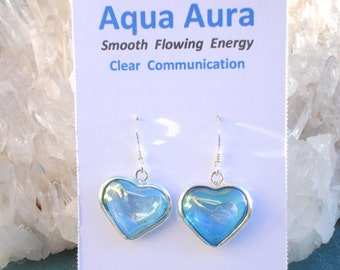 Aqua Aura Heart Earrings -Calming Love Energy- Wrapped in Sterling Silver - A Grade !  Beautiful