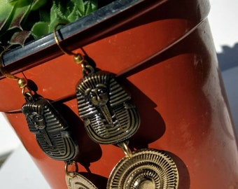 Pharaoh bronze dangle earrings, Egyptian dangle earrings