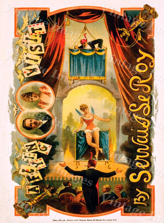 vintage 1890 Servais LeRoy Magic magician Poster 10 X 14 Fine Art Print Giclee home wall decor