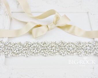 Pearl Dress Sash | Crystal Beaded Sash | Jeweled Bridal Sash | Rhinestone Sashes | Beaded Bridal Belt | Crystal Sash | Wedding Dress Belt