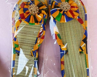African fabric women's prints slippers