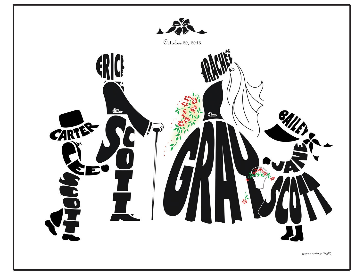 Personalized Blended Family Wedding Silhouette Print Bride