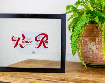 Washington State Handcut From Rainier Beer- Custom Beer Can Cut and Hung in Float Frame- Unique Gift Perfect for your Bar or Mancave!