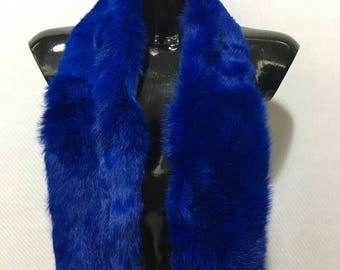 Blue electrik rabbit  Fur Scarf