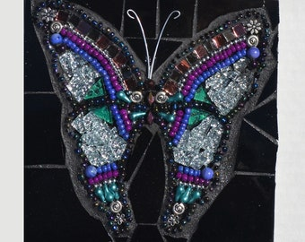 Silver Butterfly - Indoor Mixed Media Mosaic Wall Hanging