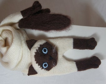 knitting Animals Cat Mohair Long Scarf Siamese Cat Scarf Knitting Cat Scarf Animal knitting scarf-Cat Lover