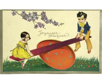 1920s Easter Postcard with Children on Seesaw Egg. Illustrated Vintage French Post Card. Old Paper Craft Supply & Ephemera. Scrapbook Art.