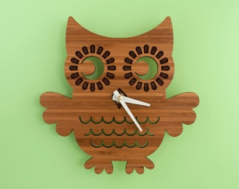 Bamboo Owl Wall Clock: Woodland Forest Animal Nature Nursery Wooden Owl Decor for Baby, Boy, Girl, Kids, Children