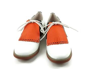 Orange Kilties for Womens Golf Shoes, Ladies Goft Shoes, Saddle Shoes, Lindy Hop Shoe Accessories, Golf Gift for Women, Golf Accessories