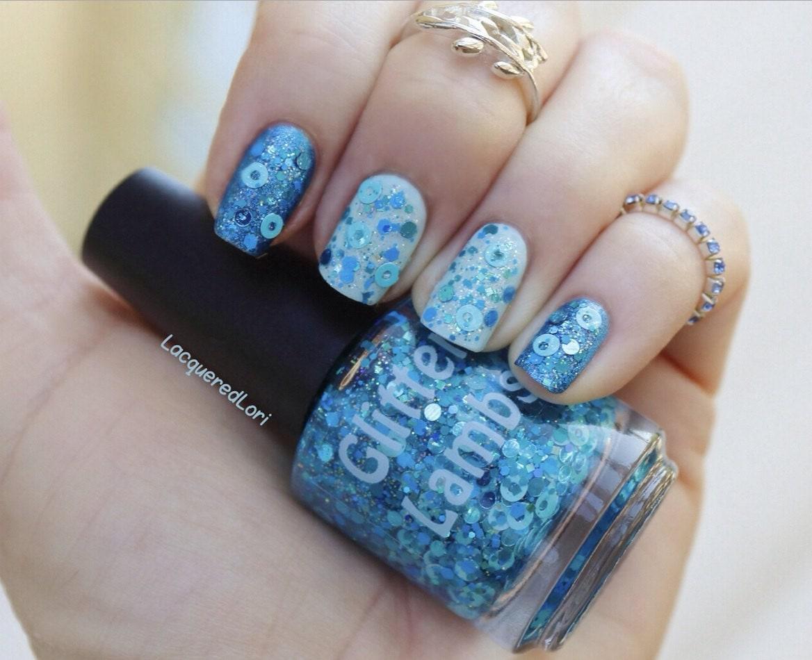 Esmalte de uñas azul de algodón de azúcar-Glitter corderos caramelo ...