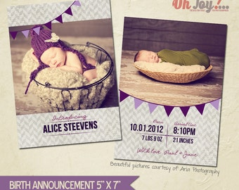 INSTANT DOWNLOAD - Birth announcement card photoshop template 5x7 - BA101