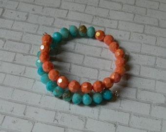 Memory Wire Beaded Bracelet, Womens Bracelet, Girls Bracelet, Gift