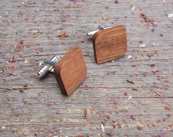 Wood Cufflinks, Rounded Square wooden cufflinks, Wedding Cufflinks set,  personalization groomsmen cuff links set of 2-4-6-8-10, customized
