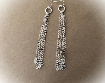 Tassel Earrings, Long Duster Earrings, Silver Long Earrings, Chainmaille Jewelry, Sterling Silver Drop Earrings,Gift for Her,Dangling,Women,