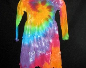 Over the Rainbow Tye Dye Ruffle Dress Size 8