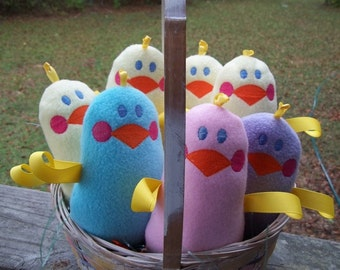 Handmade Plush Pink Chicken - Sensory toy - Easter bunny