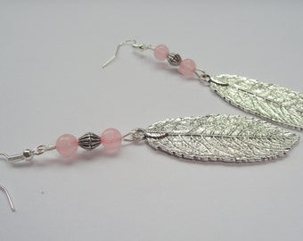 Silver leaf and rose quartz earrings, Leaf earrings, Silver bohemian earrings, Boho rose quartz earrings, Boho jewellery, Boho earrings