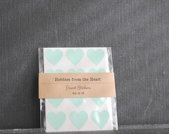 100 Pastel Green Mint Mini Heart Stickers / Seals / Labels