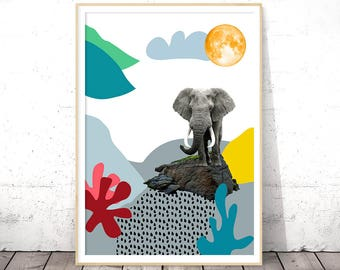 Elephant Print, Nursery Decor, Digital Download, Baby Shower Gift, Printable Poster, Zoo Animal, Kids Room Decor, Classroom Decor, Wall Art