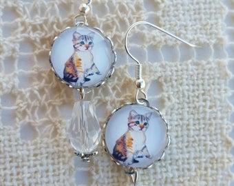 Glass Cabochon Earrings, Cat Dangle Earrings, Kitty Cat Jewelry, Gift for Cat Lover, Tabby Cat Earrings, Crystal Bead, Silver Drop Earrings