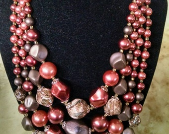 Beautiful Vintage 4 Strand Chunky Chocolate Cinnamon Beaded Necklace & Earring Set