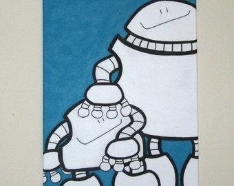 Acrylic Painting On Canvas - Original - Robots