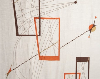 """1950s MCM Modern Wall Hanging Geometric Satellite Fabric Print lines 94x45"""" Bone colored fabric with gold orange brown screen hand printed"""
