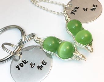 Two Peas in a Pod, Best Friend Gift, Hand Stamped Jewelry, Friendship Jewelry, Valentines day gift, gift for her, Peapod