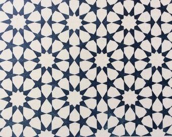 linocut - TESSELATION // 9x12 art print // printmaking // block print // dark blue // geometric print // stars // 8x10 // zellige