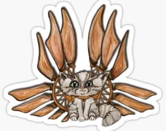 Grey marble tabby cat, Steampunk, Fantasy art, Fairy cat, Adorable kitten, laptop stickers, faerie cat art sticker, frixie, silver tabby