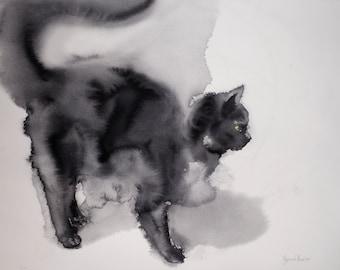 Black cat waiting - original watercolor painting, gift for cat lowers