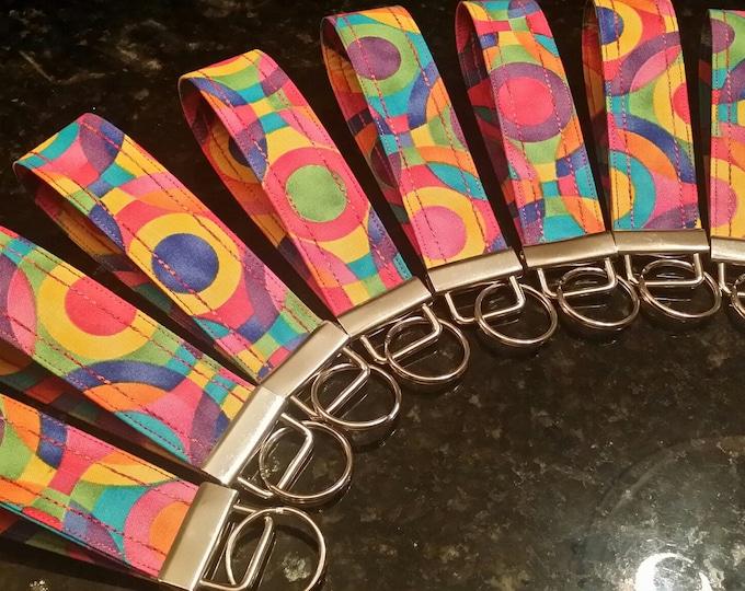 Key Chains-Key Rings-Key Fobs-Artsy Rainbow Circles Fabric