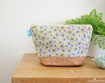 Cherry Blossom Cork Wash bag, Vegan Leather Bag, Vegan Leather Clutch, Toiletry Bag, Nappy Bag, Cosmetic Bag, Cork Leather, Zipper Bag
