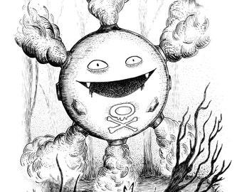 Koffing- A3 pokemon inspired art print by Jon Turner- cute geeky artwork- FREE WORLDWIDE SHIPPING