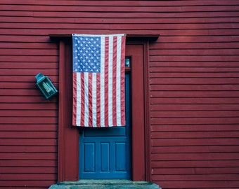 American Flag and Blue Door (Madison, CT)