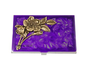 Art Nouveau Flowers Inlaid in Hand Painted Enamel Purple Swirl Design Metal Wallet with Enraved Personalized and Custom Color Option
