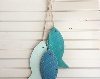 "Painted String of Wooden Fish Wall decor made with repurposed wood, 11"" wood fish Light Version of beach blue, beach house, lake house decor"