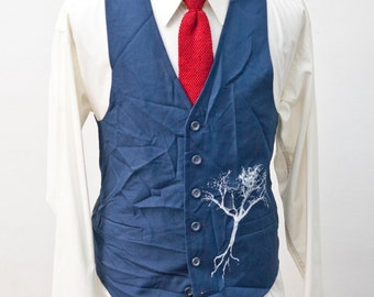 Men's Suit Vest / Upcycled Vintage Blue Waistcoat with Screen Printed Tree / Size 40 Medium