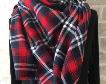 Navy Red and White Blanket Scarf