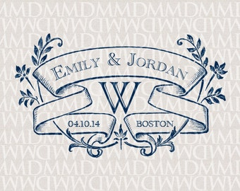 Ivy League Custom Wedding Monogram - Wedding Logo - Wedding Crest