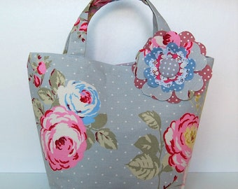 Gorgeous Handcrafted Floral Linen Tote with Oversized Flower Detail