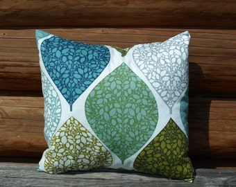 Pillow cover white blue green grey abstract leaves Decorative Cotton pillow case for Throw pillows Floor Cushions Accent Pillows