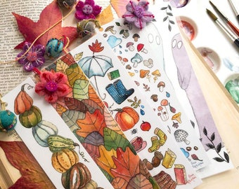 Autumn Bookmarks // Watercolor Illustration // Laminated Bookmark