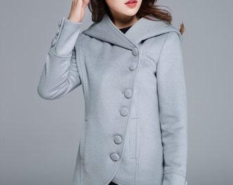 jacket coat, short coat, light grey coat, mini jacket, hooded coat, asymmetrical coat, button coat, wool coat, winter jacket 1684